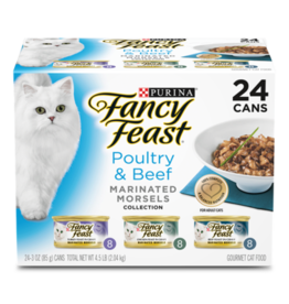 FANCY FEAST POULTRY & BEEF MARINATED MORSELS VARIETY CANS 24 PACK
