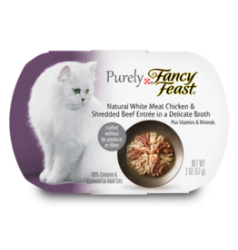FANCY FEAST PURELY CHICKEN & BEEF IN BROTH 2OZ CASE OF 10