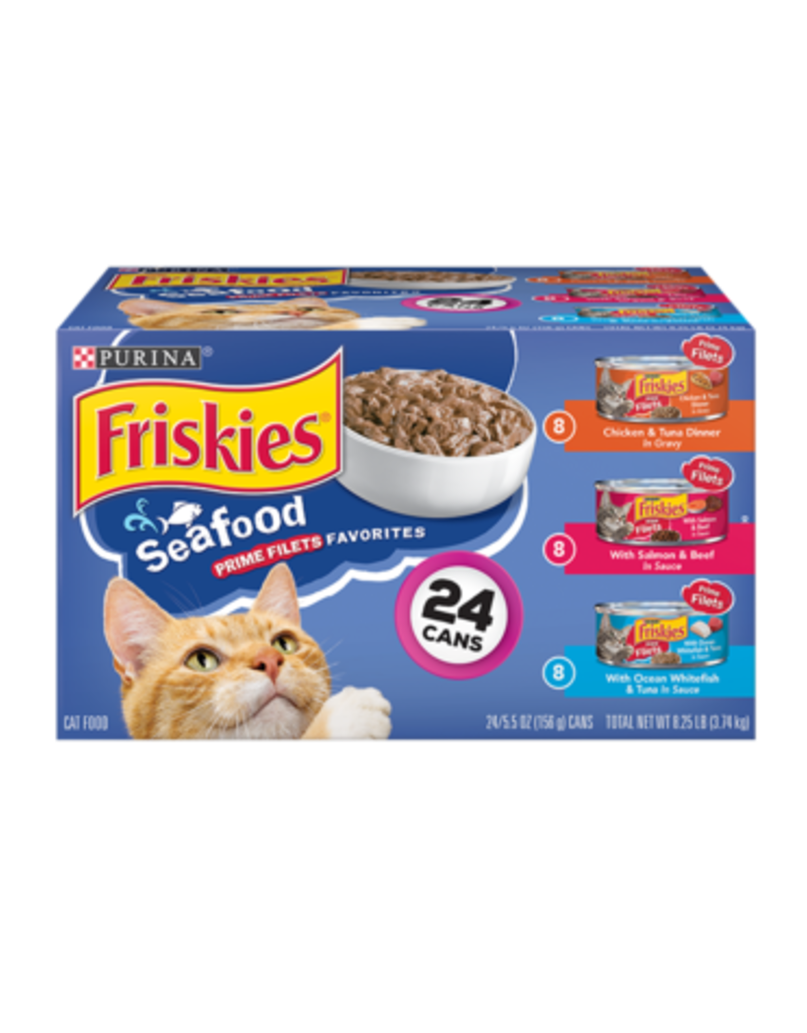 FRISKIES CAT PRIME FILETS SEAFOOD FAVORITES 5.5 OZ CAN VARIETY PACK