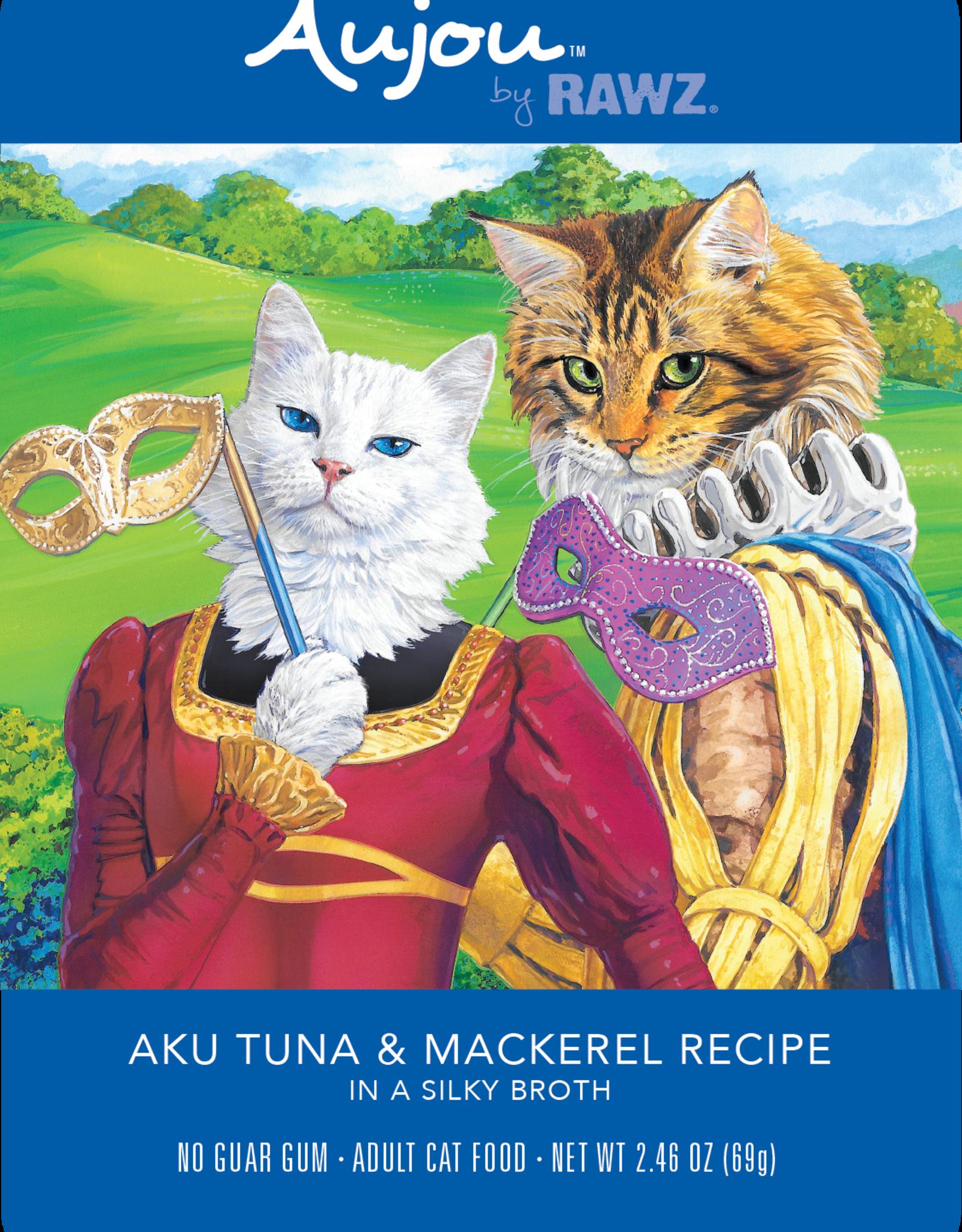 RAWZ AUJOU BY RAWZ CAT TUNA & MACKERAL RECIPE 2.46OZ BOX OF 8