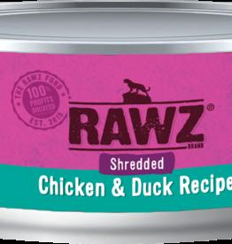 RAWZ RAWZ CAT SHREDDED CHICKEN & DUCK 3OZ CASE OF 18