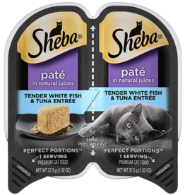 MARS PET CARE SHEBA PERFECT PORTIONS WHITEFISH/TUNA PATE CUTS 2.6OZ