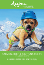 RAWZ AUJOU BY RAWZ DOG SALMON BEEF & TUNA RECIPE 2.46OZ BOX OF 8