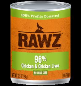 RAWZ RAWZ DOG CAN 96% CHICKEN & LIVER 12.5OZ CASE OF 12