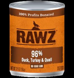 RAWZ RAWZ DOG CAN 96% DUCK, TURKEY & QUAIL 12.5OZ CASE OF 12