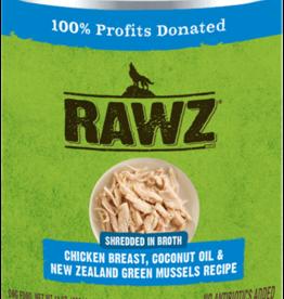 RAWZ RAWZ DOG CAN SHREDDED CHICKEN, COCONUT OIL & GREEN MUSSELS 14OZ CASE OF 12