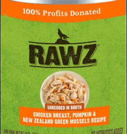 RAWZ RAWZ DOG CAN SHREDDED CHICKEN, PUMPKIN & GREEN MUSSELS 14OZ