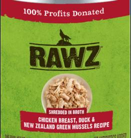 RAWZ RAWZ DOG CAN SHREDDED CHICKEN, DUCK & GREEN MUSSELS 14OZ