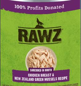 RAWZ RAWZ DOG CAN SHREDDED CHICKEN & GREEN MUSSELS 14OZ CASE OF 12