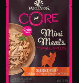 WELLPET LLC WELLNESS DOG CORE MINI MEALS SMALL BREED SHREDDED CHICKEN & TURKEY POUCH 3OZ