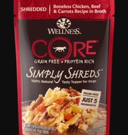 WELLPET LLC WELLNESS DOG CORE SIMPLY SHREDS CHICKEN, BEEF & CARROTS POUCH 2.8OZ BOX OF 12