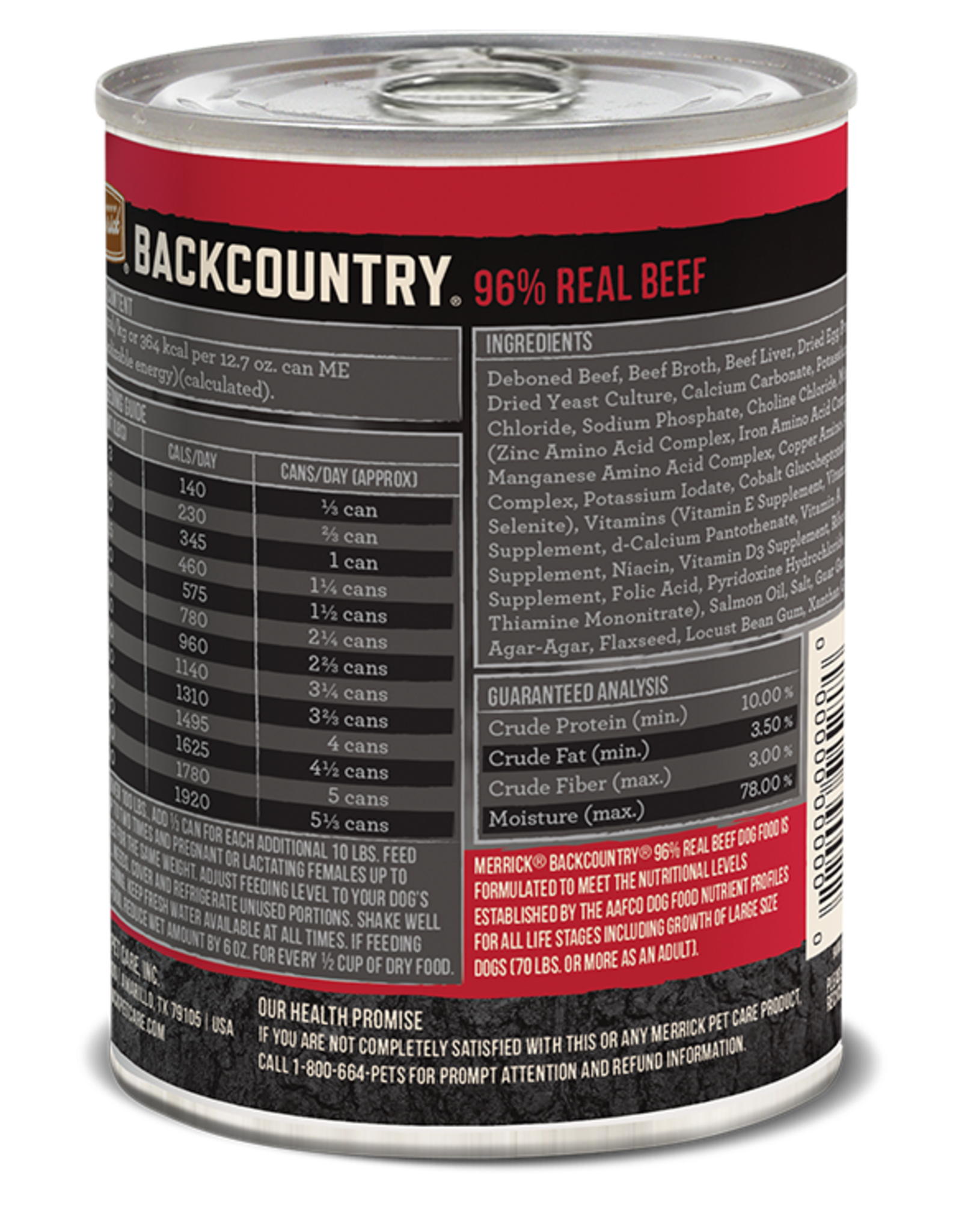 MERRICK PET CARE, INC. MERRICK BACKCOUNTRY DOG BEEF CAN 12.7OZ CASE OF 12