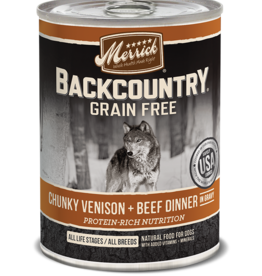 MERRICK PET CARE, INC. MERRICK BACKCOUNTRY DOG CHUNKY VENISON & BEEF CAN 12.7OZ