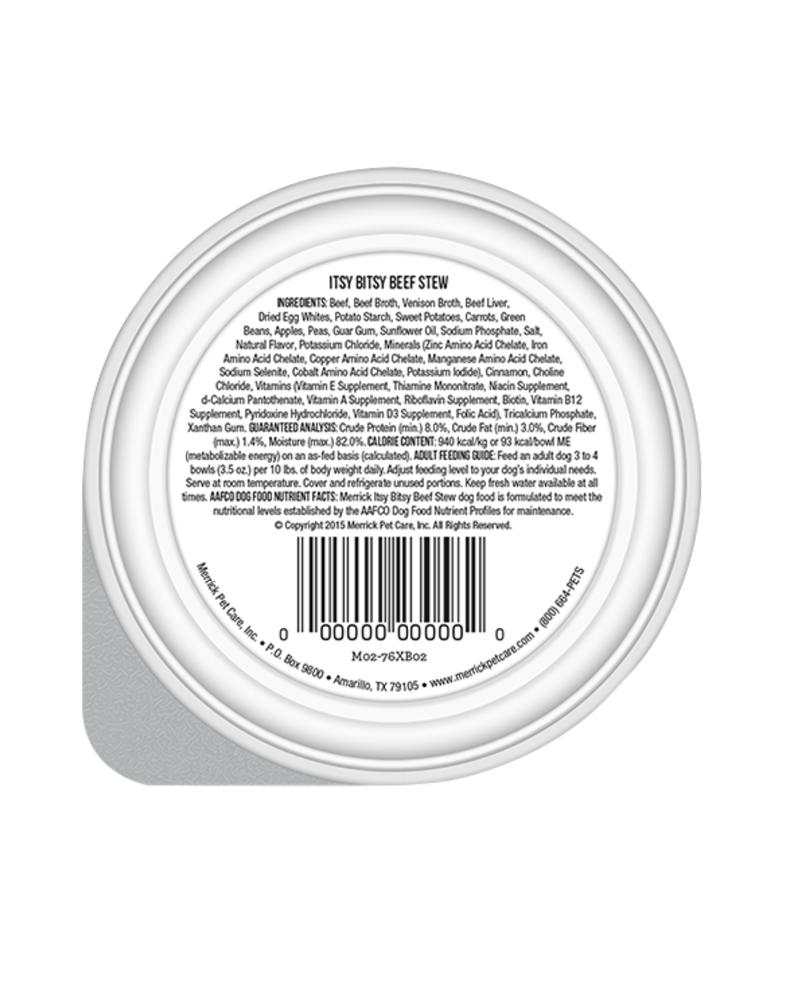 MERRICK PET CARE, INC. MERRICK DOG LIL' PLATES ITSY BITSY BEEF STEW 3.5 OZ TRAY CASE OF 12