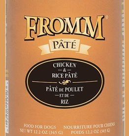 FROMM FAMILY FOODS LLC FROMM DOG PATE CHICKEN & RICE CAN 12.2 OZ