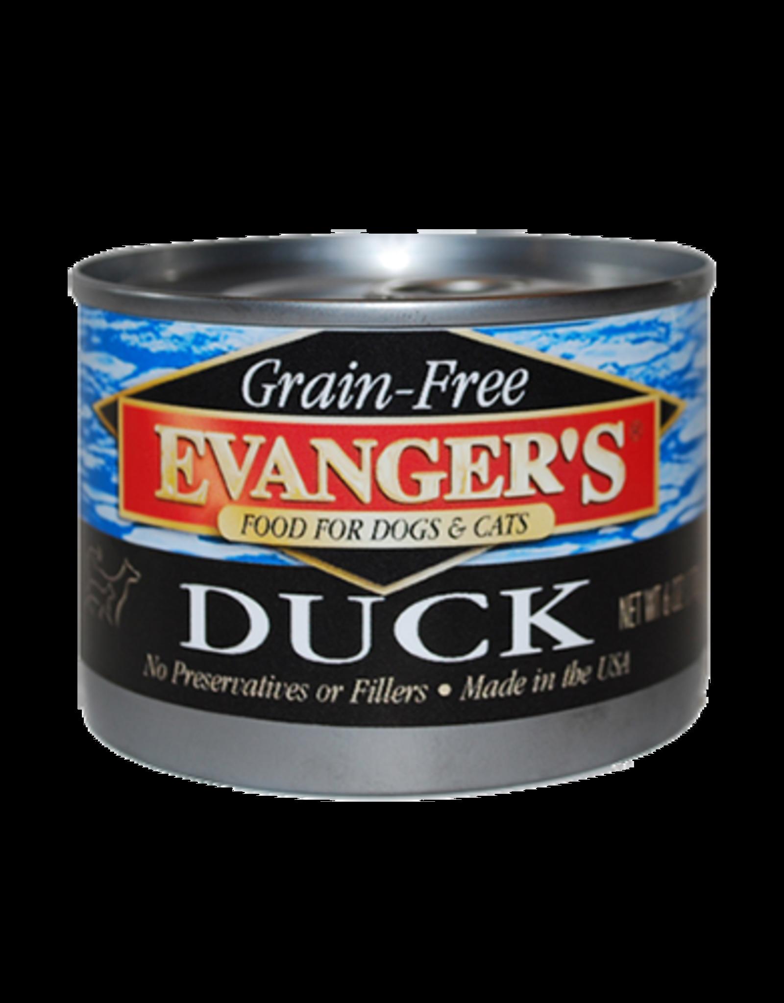 EVANGER'S EVANGERS GRAIN FREE DUCK 6OZ CAN