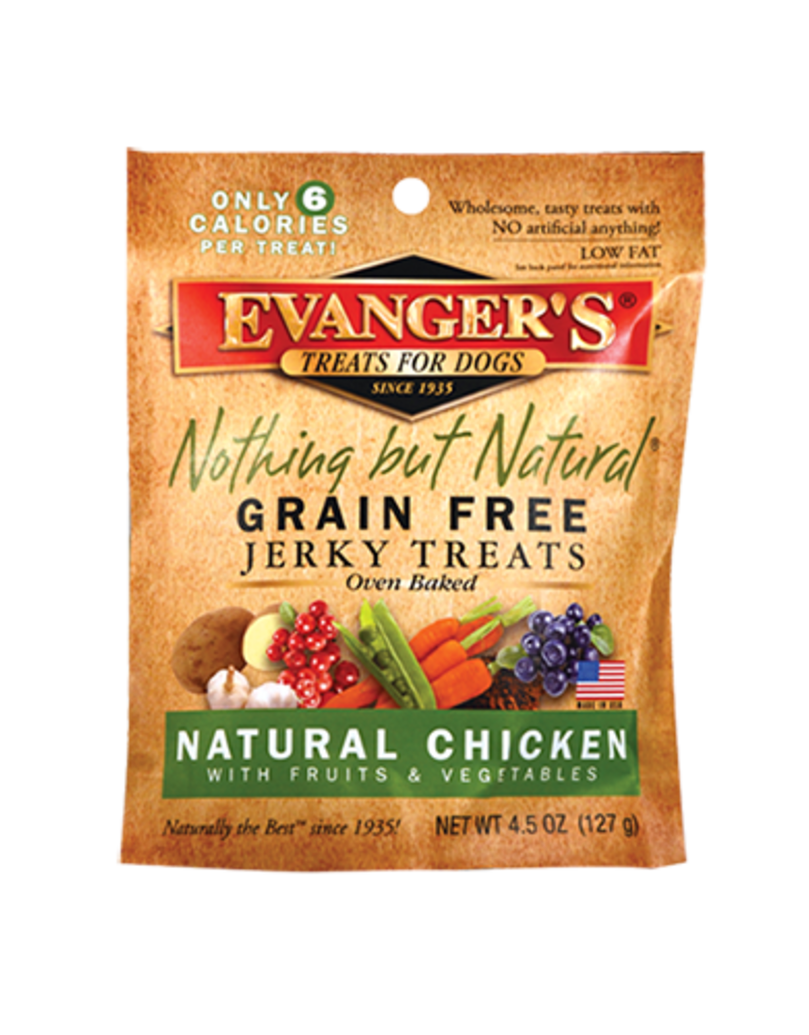 EVANGER'S EVANGERS NOTHING BUT NATURAL CHICKEN JERKY TREAT 4.5OZ(PVPD)