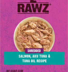 RAWZ RAWZ CAT SHREDDED SALMON, AKU TUNA & TUNA OIL 2.46OZ CASE OF 8