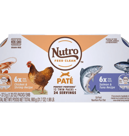 NUTRO PRODUCTS  INC. NUTRO CAT PERFECT PORTIONS GF CHICKEN & SHRIMP/SALMON & TUNA 2.65OZ 12 PACK