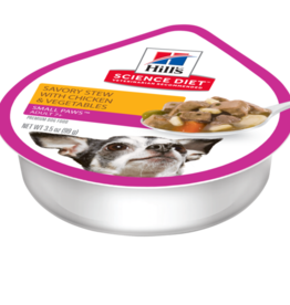 SCIENCE DIET HILL'S SCIENCE DIET CANINE ADULT SMALL & TOY SAVORY STEW CHICKEN & VEGETABLES TRAY 3.5OZ CASE OF 12