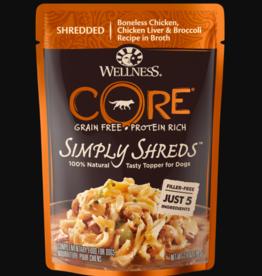 WELLPET LLC WELLNESS DOG CORE SIMPLY SHREDS CHICKEN & CHICKEN LIVER POUCH 2.8OZ BOX OF 12
