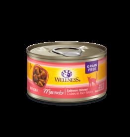 WELLPET LLC WELLNESS CAT CAN SALMON MORSELS 3OZ CASE OF 24