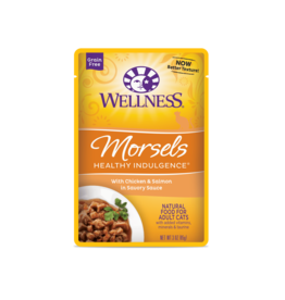 WELLPET LLC WELLNESS CAT HEALTHY INDULGENCE MORSELS CHICKEN & SALMON 3OZ CASE OF 24