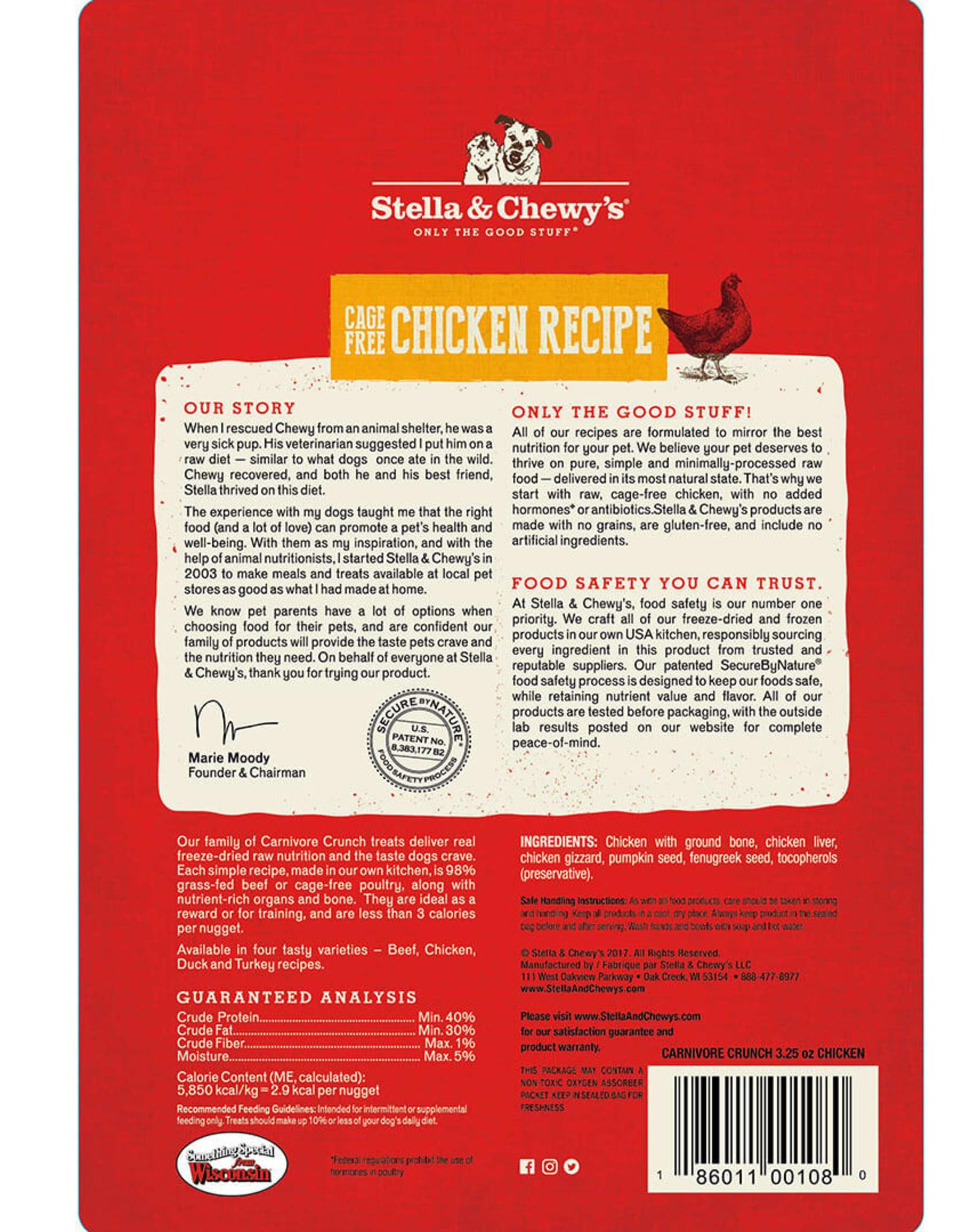STELLA & CHEWY'S LLC STELLA & CHEWY'S CHICKEN CARNIVORE CRUNCH FREEZE DRIED TREAT DOG 3.25OZ