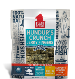 KDR PET TREATS PLATO HUNDUR'S CRUNCH JERKY FINGER FISH TREAT 3.5 OZ
