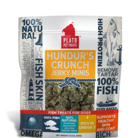 KDR PET TREATS PLATO HUNDUR'S CRUNCH JERKY MINIS FISH TREAT 3.5 OZ