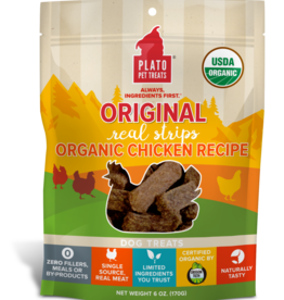 PLATO PET TREATS PLATO ORGANIC CHICKEN STRIPS 6OZ