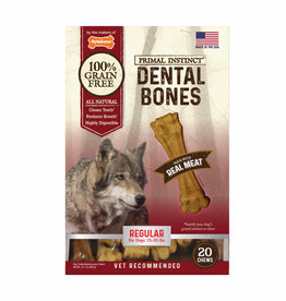 NYLABONE CORP PRIMAL INSTINCT DENTAL BONE MEAT-REGULAR 20CT