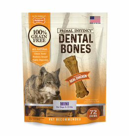 NYLABONE CORP PRIMAL INSTINCT DENTAL BONE  CHICKEN MINI 72CT
