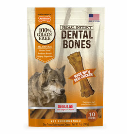 NYLABONE CORP PRIMAL INSTINCT DENTAL BONE  CHICKEN REGULAR 10CT