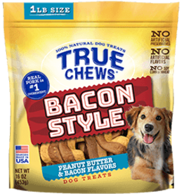 TYSON PET PRODUCTS INC TRUE CHEWS BACON STYLE TREAT BACON/PEANUT BUTTER 16OZ