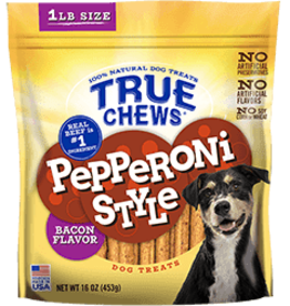 TYSON PET PRODUCTS INC TRUE CHEWS PEPPERONI STYLE TREAT BACON 16OZ