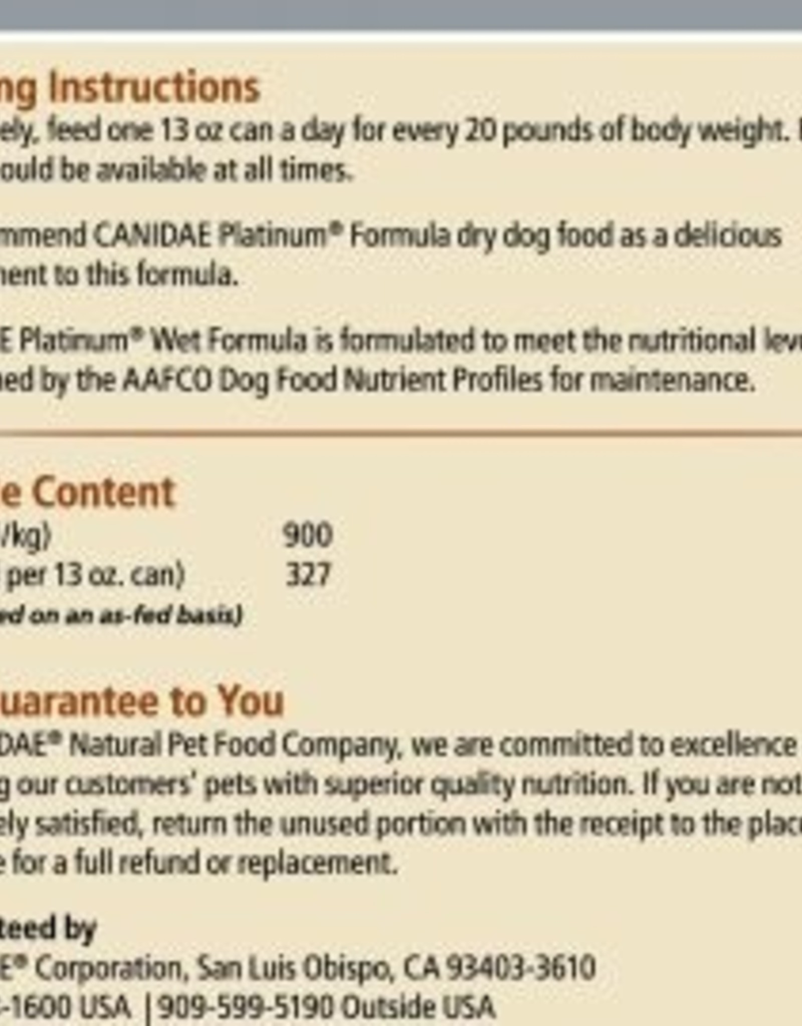 CANIDAE PET FOODS CANIDAE CAN ALL LIFE STAGES PLATINUM LESS ACTIVE 13.2OZ CASE OF 12