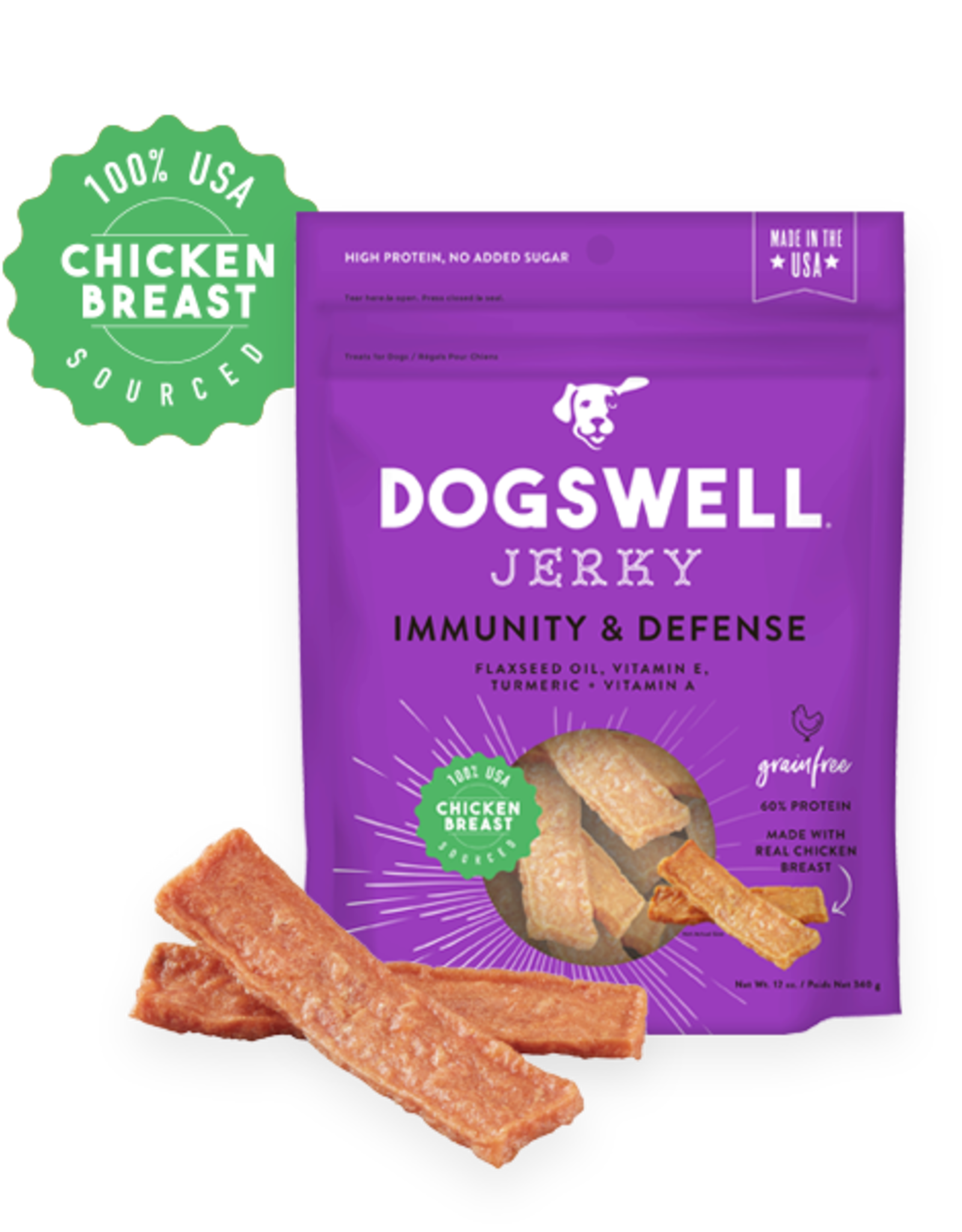 DOGSWELL, LLC DOGSWELL DOG IMMUNE DEFENSE JERKY GRAIN FREE CHICKEN 12OZ
