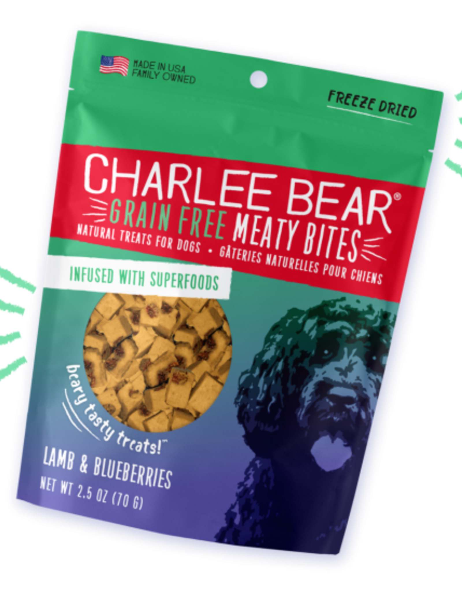 CHARLEE BEAR CHARLEE BEAR DOG MEATY BITES LAMB & BLUEBERRY 2.5OZ