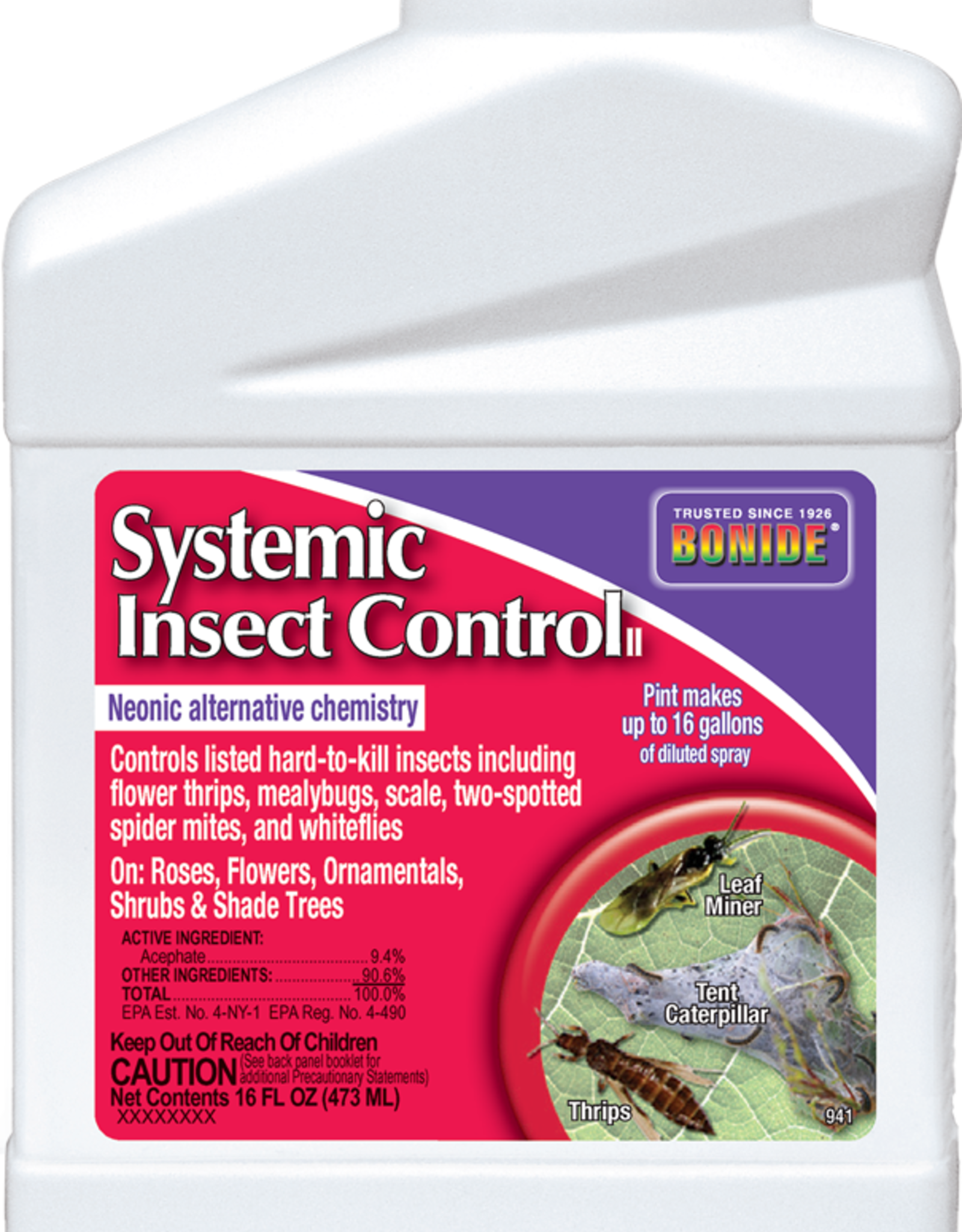 BONIDE PRODUCTS INC     P BONIDE SYSTEMIC INSECT CONTROL CONC 16OZ