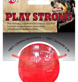 ETHICAL PRODUCTS, INC. PLAY STRONG MINI RUBBER BALL DOG TOY RED SMALL