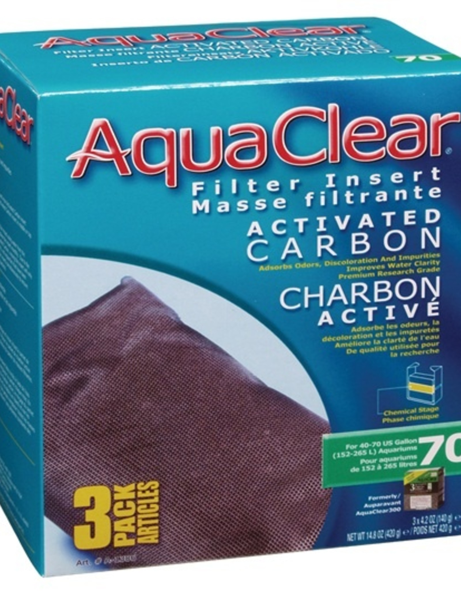 HAGEN AQUA CLEAR 70 3PK CARBON