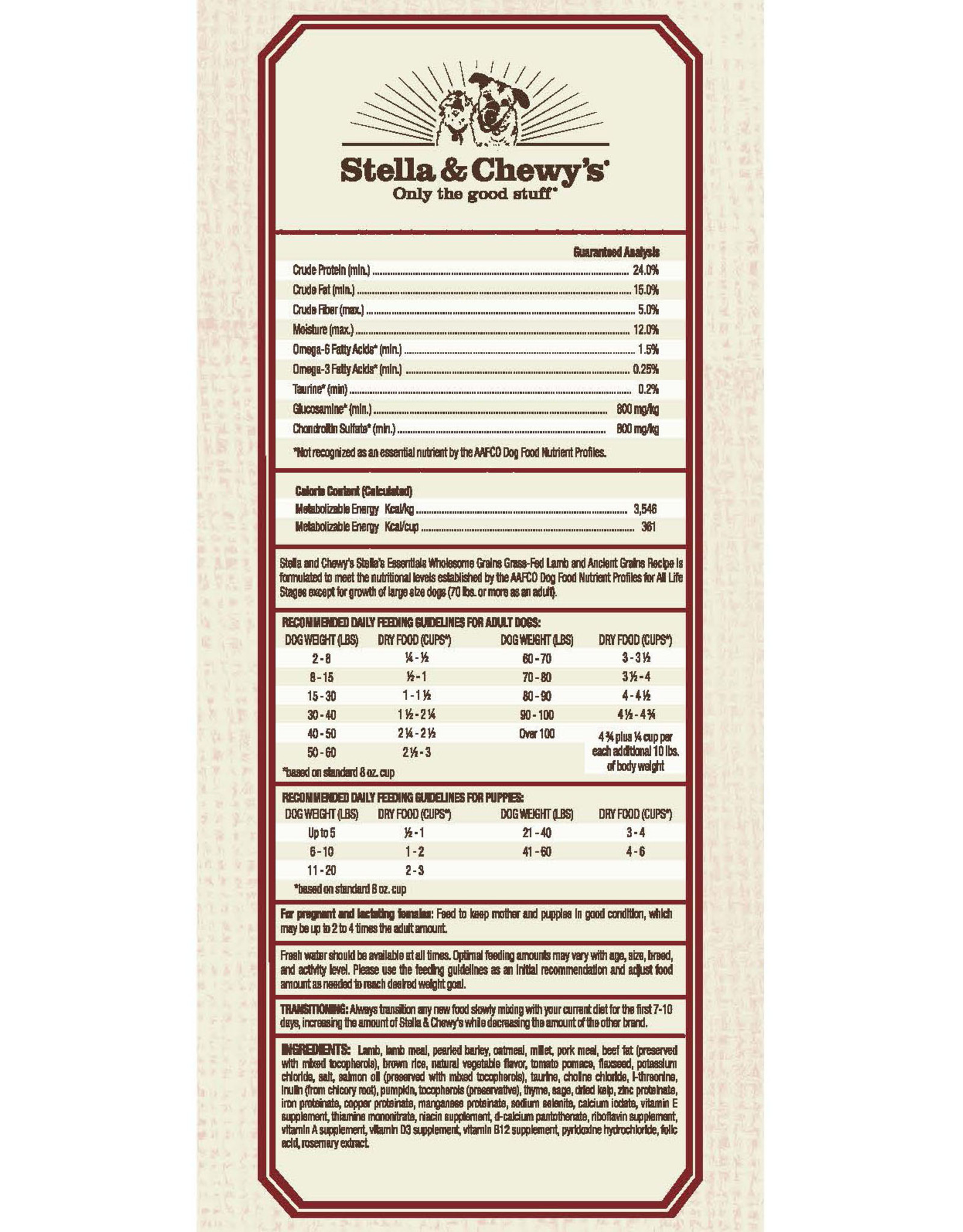 STELLA & CHEWY'S LLC STELLA & CHEWY'S ESSENTIALS LAMB WITH ANCIENT GRAINS 3LBS