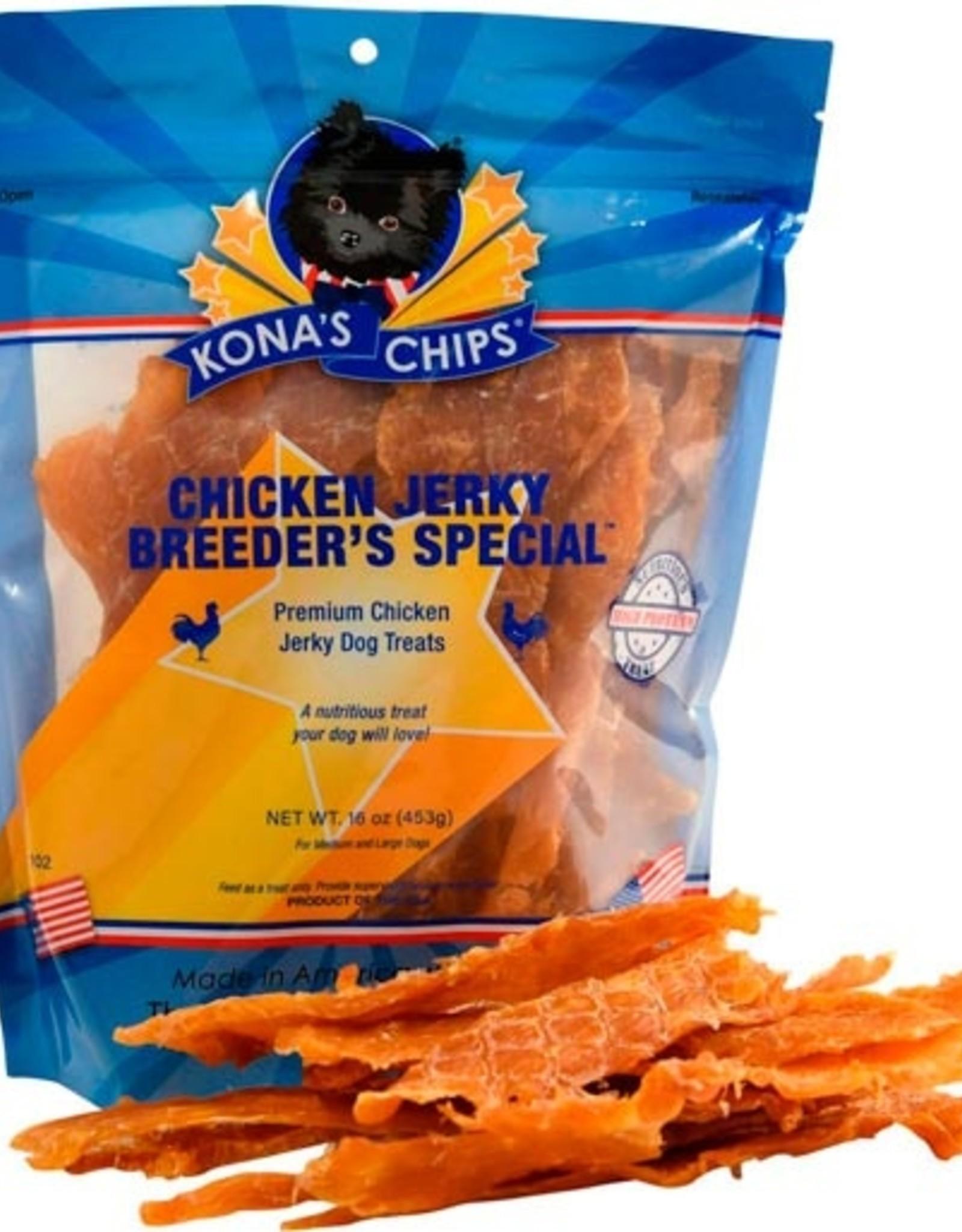KONA'S CHIPS CHICKEN JERKY 8OZ