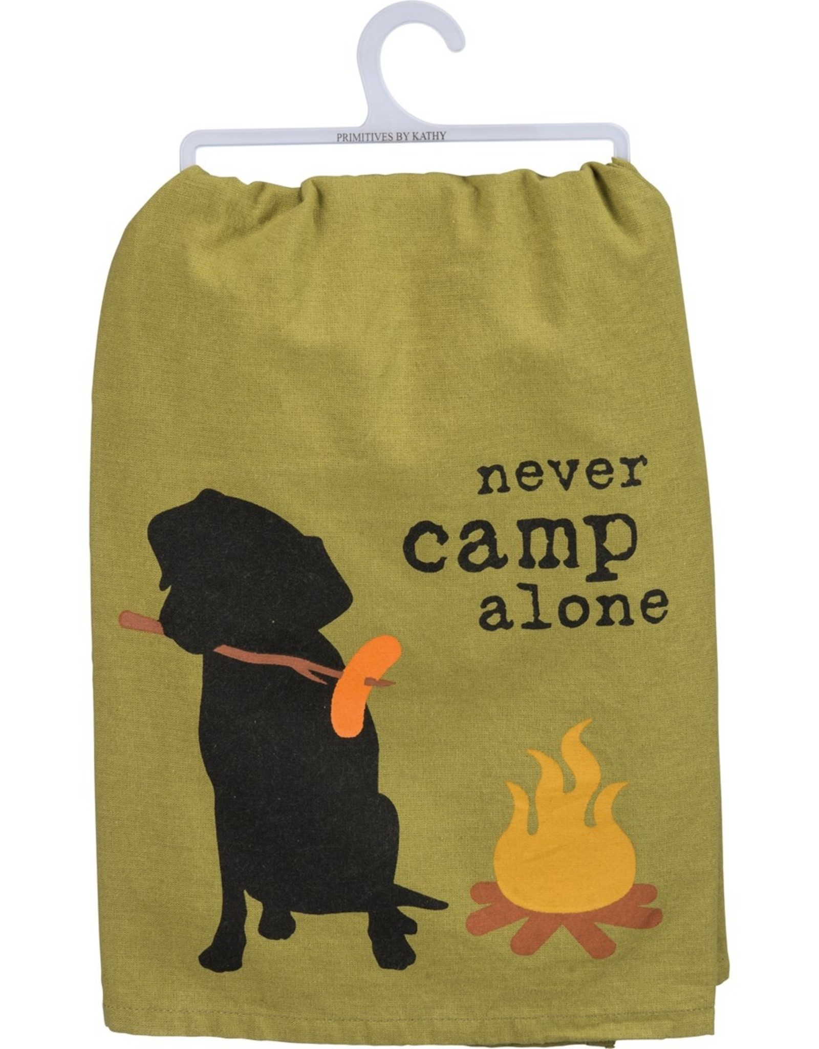 PRIMITIVES BY KATHY DISH TOWEL - NEVER CAMP ALONE