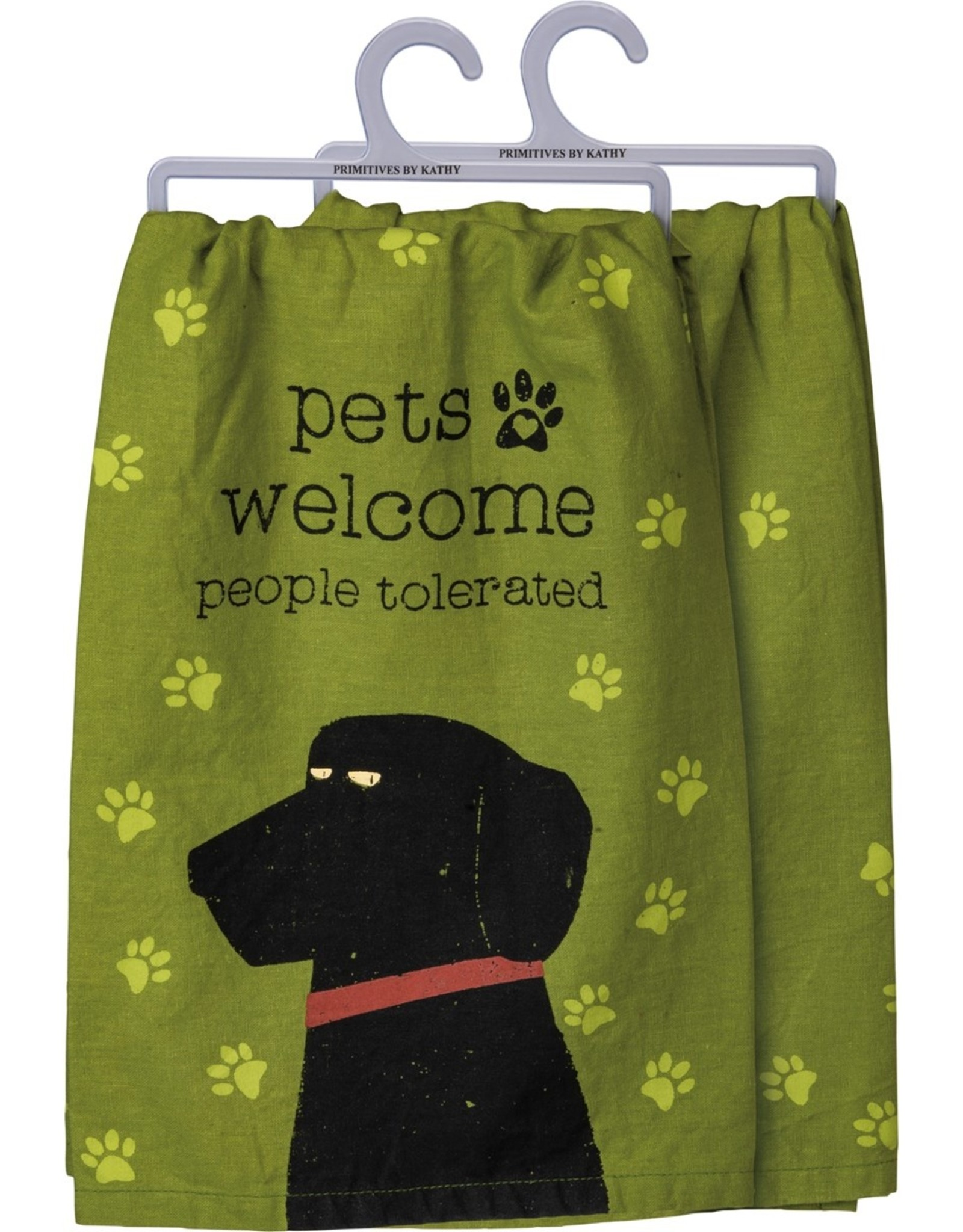 PRIMITIVES BY KATHY DISH TOWEL - PETS WELCOME