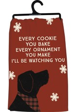 PRIMITIVES BY KATHY DISH TOWEL - WATCHING YOU DOG