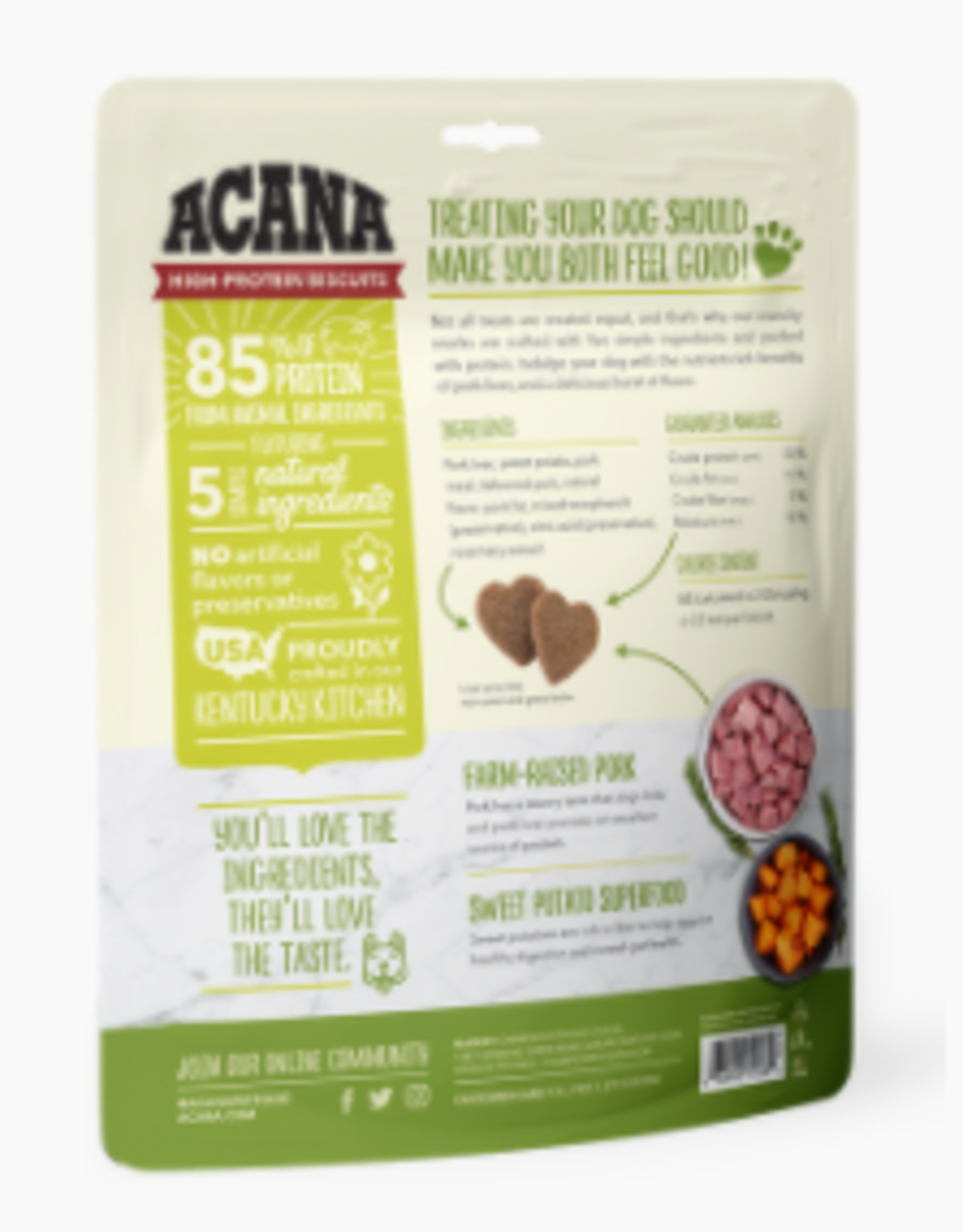 CHAMPION PET FOOD ACANA HIGH PROTEIN BISCUIT CRUNCHY PORK LIVER SMALL 9OZ