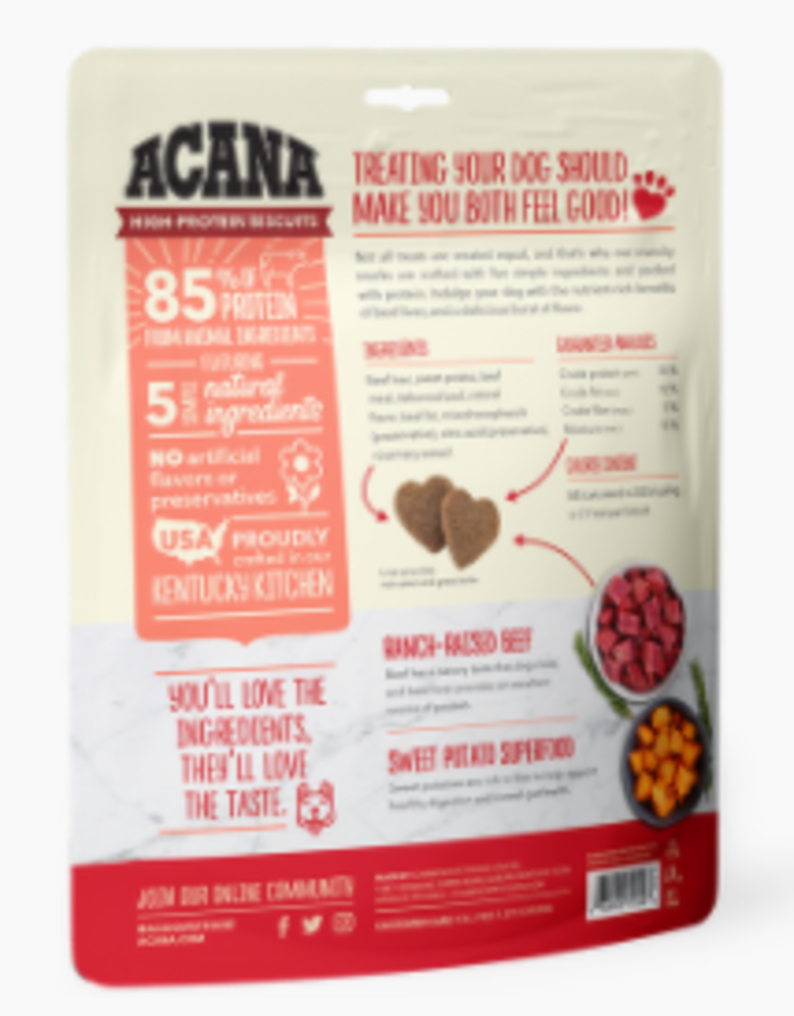 CHAMPION PET FOOD ACANA HIGH PROTEIN BISCUIT CRUNCHY BEEF LIVER SMALL 9OZ