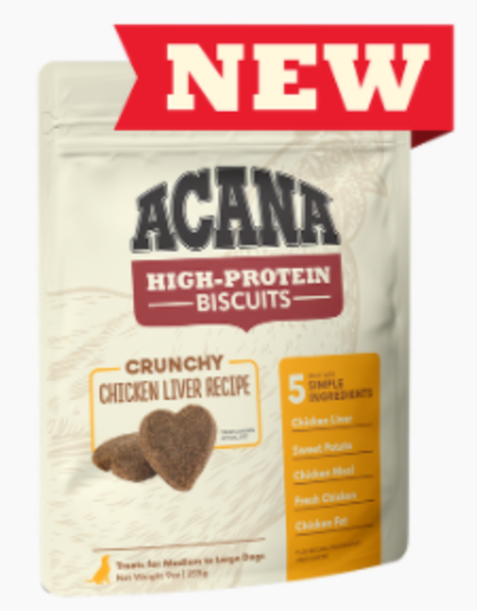 CHAMPION PET FOOD ACANA HIGH PROTEIN BISCUIT CRUNCHY CHICKEN LIVER LARGE 9OZ